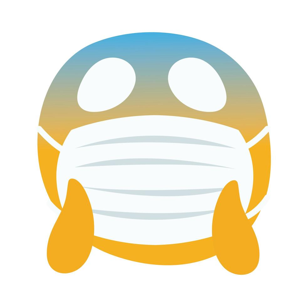 emoji worried wearing medical mask hand draw style vector
