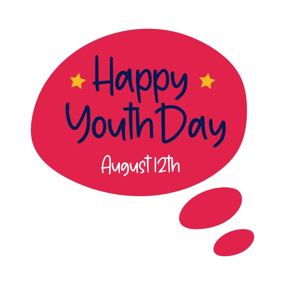 happy youth day lettering in speech bubble flat style vector