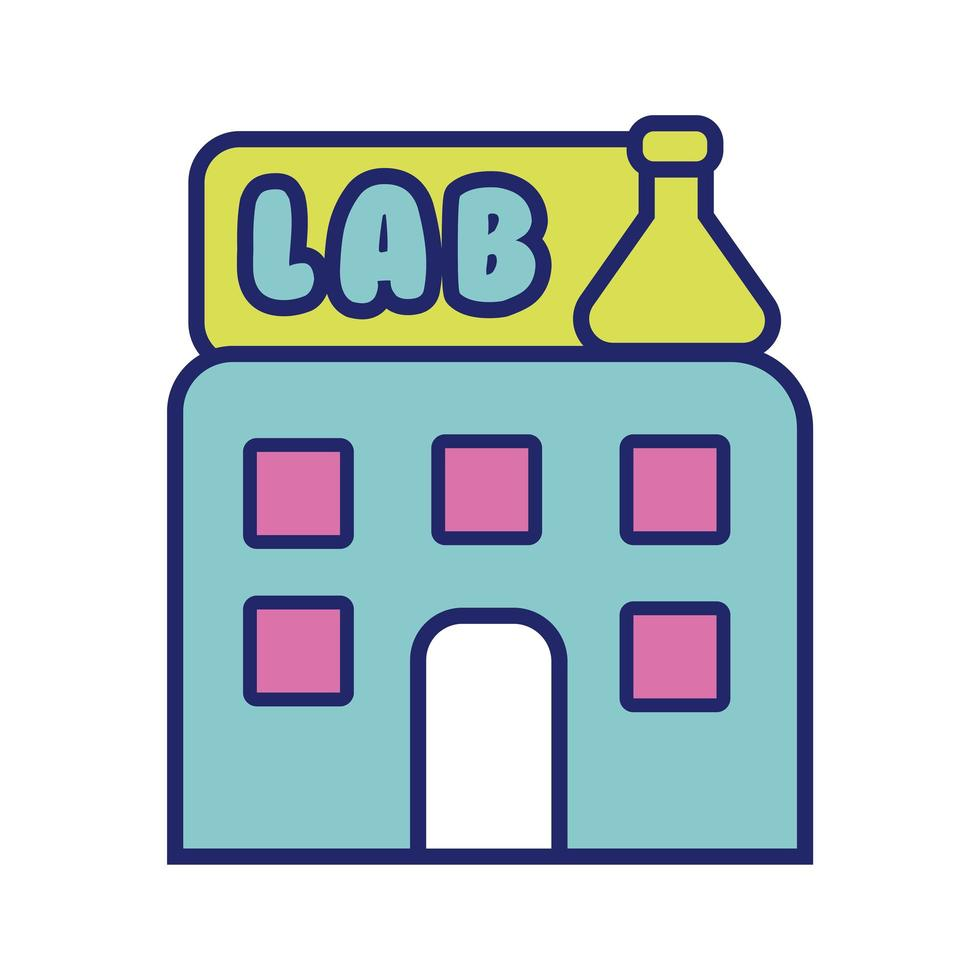 building lab line and fill style icon vector