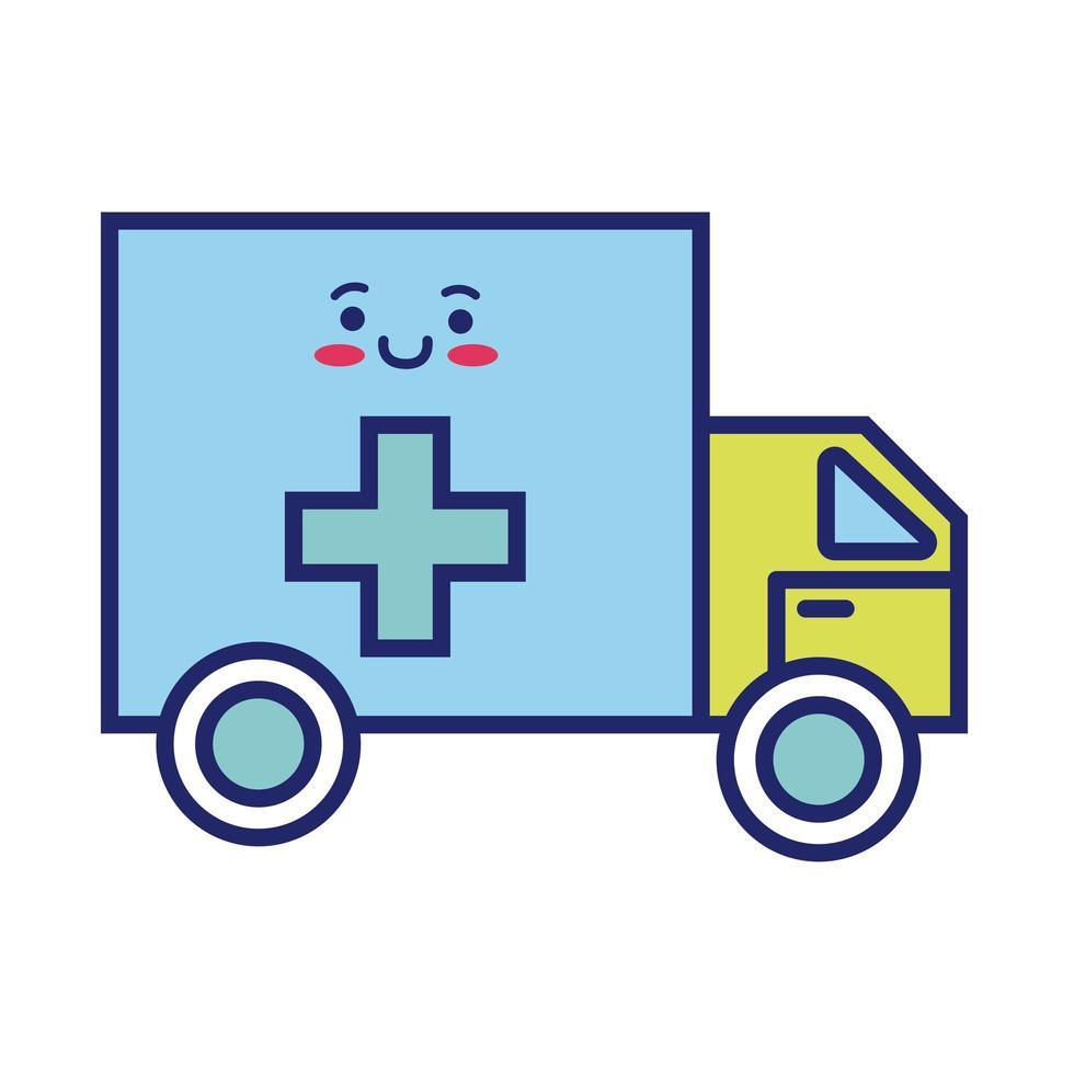 ambulancia coche estilo de línea kawaii vector