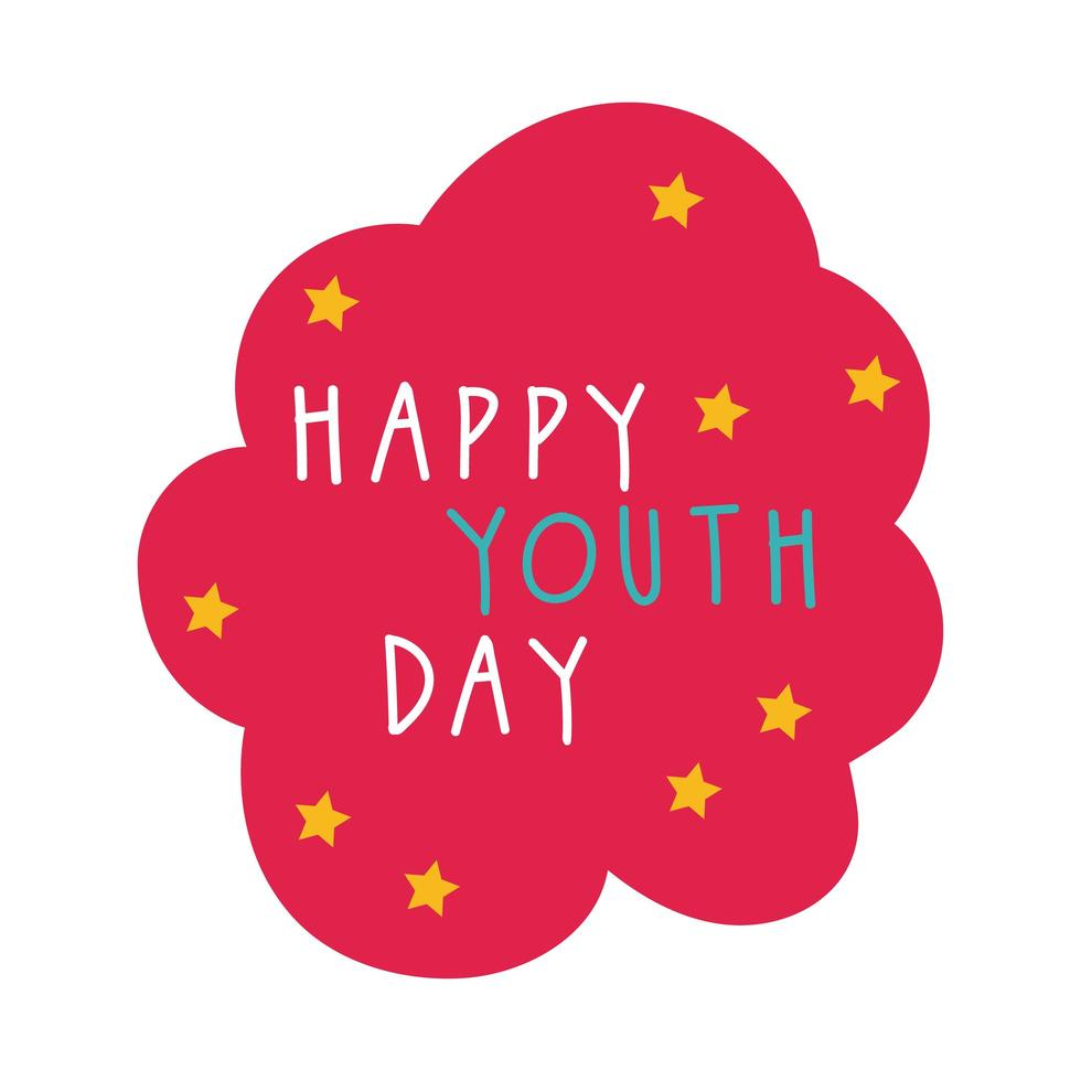 happy youth day in cloud flat style vector