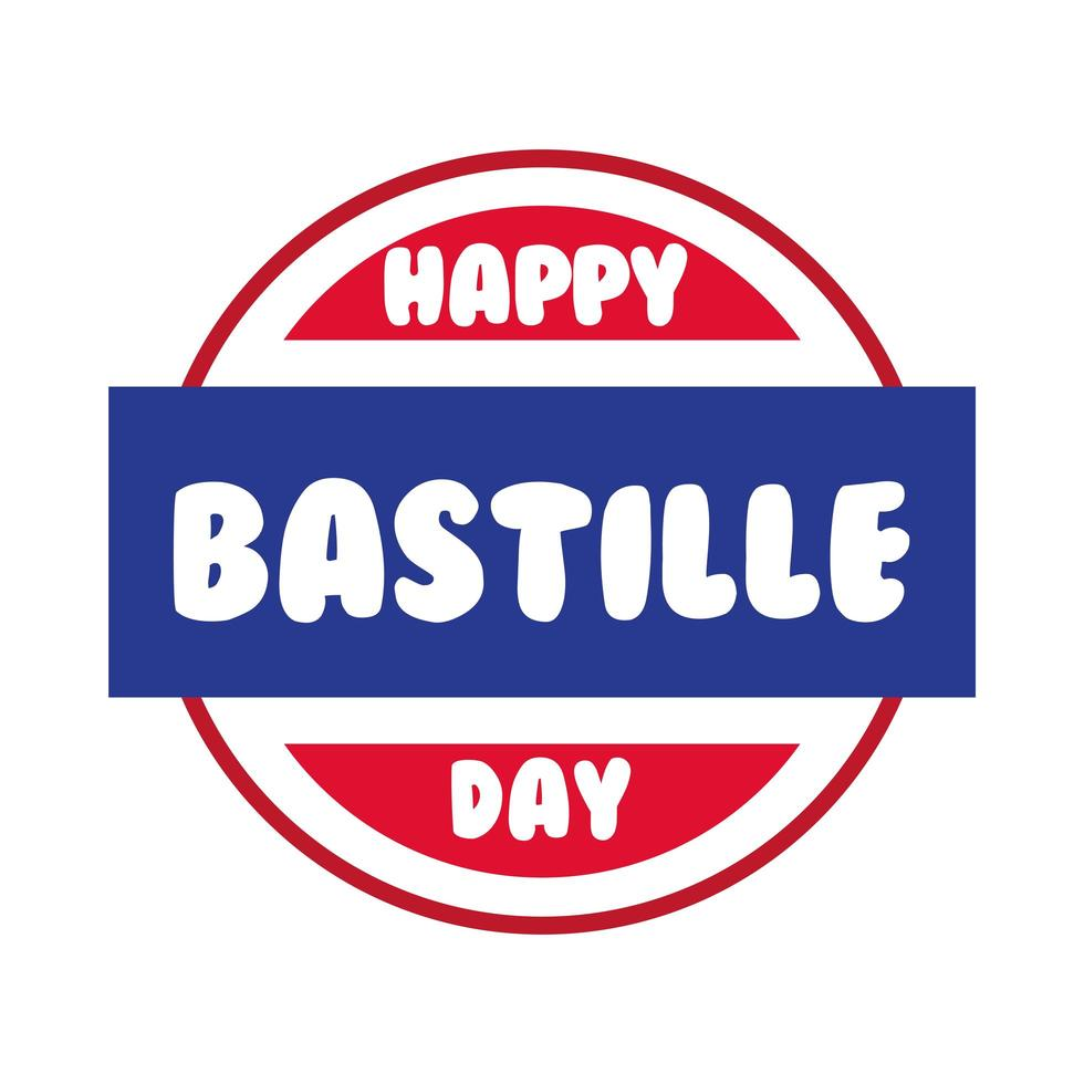 bastille day lettering in seal hand draw style vector