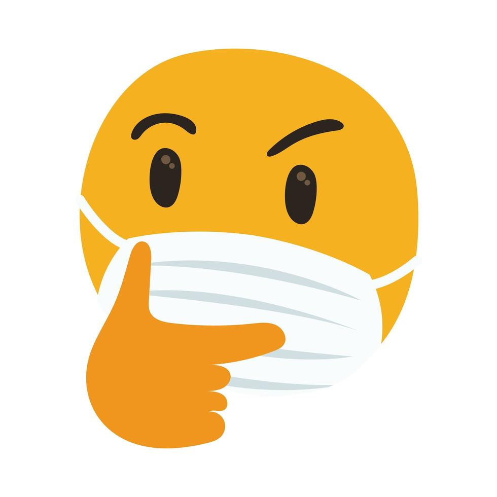 emoji Thoughtful wearing medical mask hand draw style vector