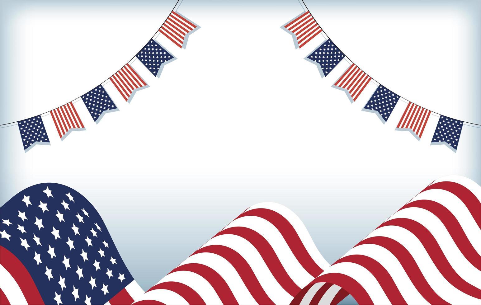 Bandera de Estados Unidos y diseño de vector de banderín de banner