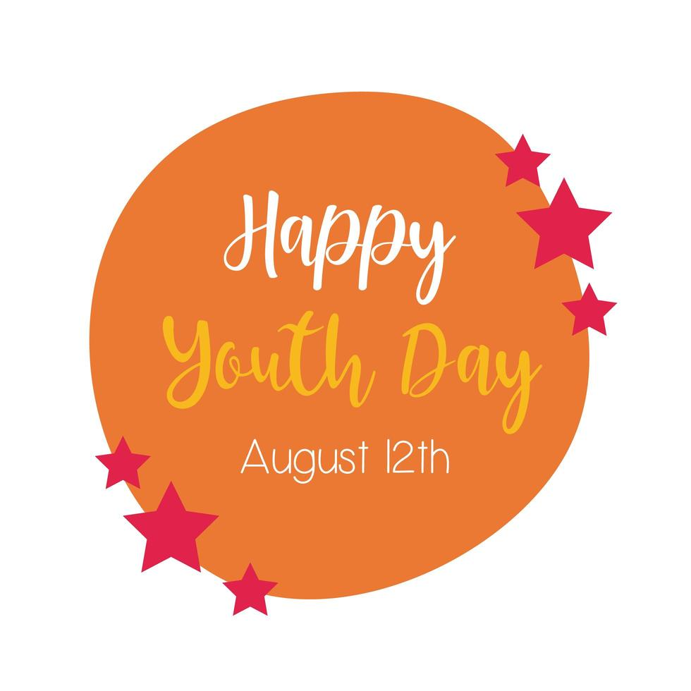 happy youth day lettering in circular frame flat style vector