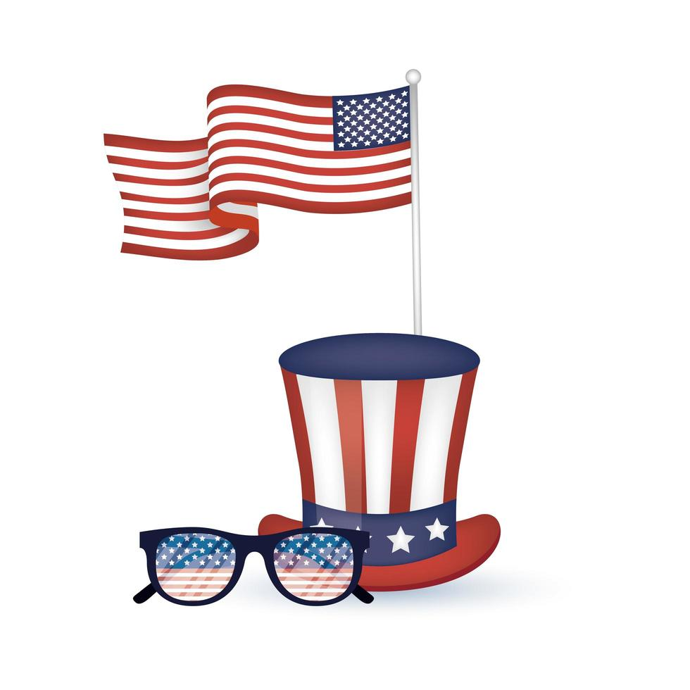 Usa hat glasses and flags vector design