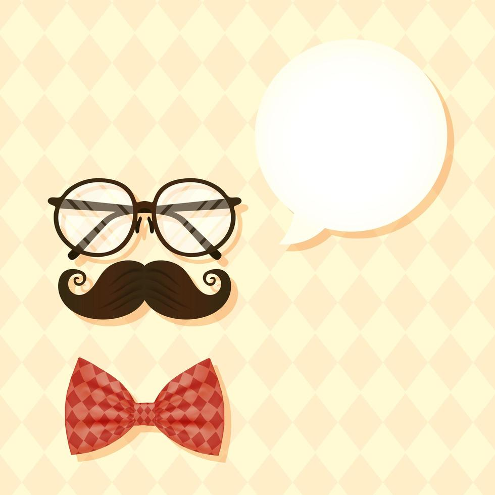 Gafas, bigote y pajarita, y burbuja para el diseño vectorial del día del padre. vector