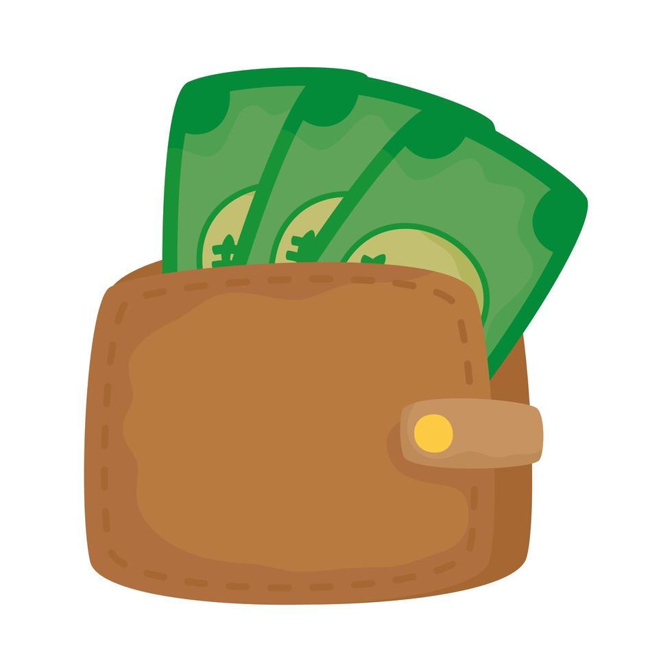 Isolated bills inside wallet vector design