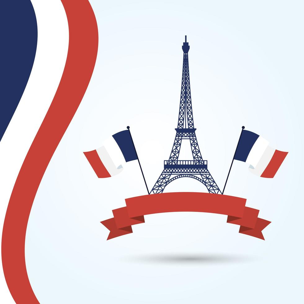 Eiffel tower with france flags and ribbon vector design
