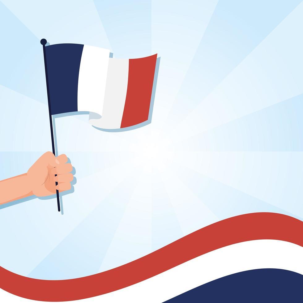 Hand holding france flag for happy bastille day vector design