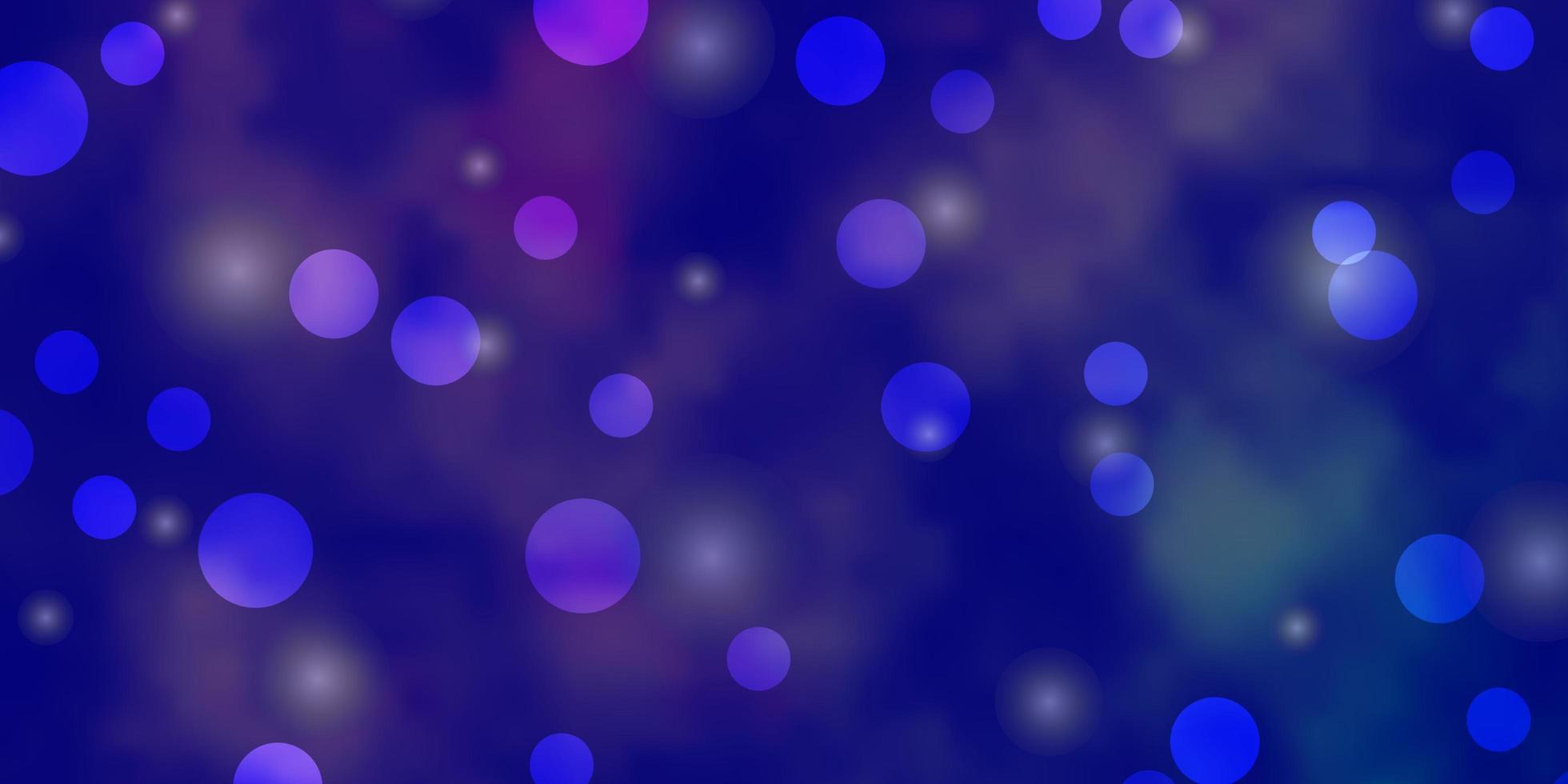 patrón de vector púrpura claro con círculos, estrellas.