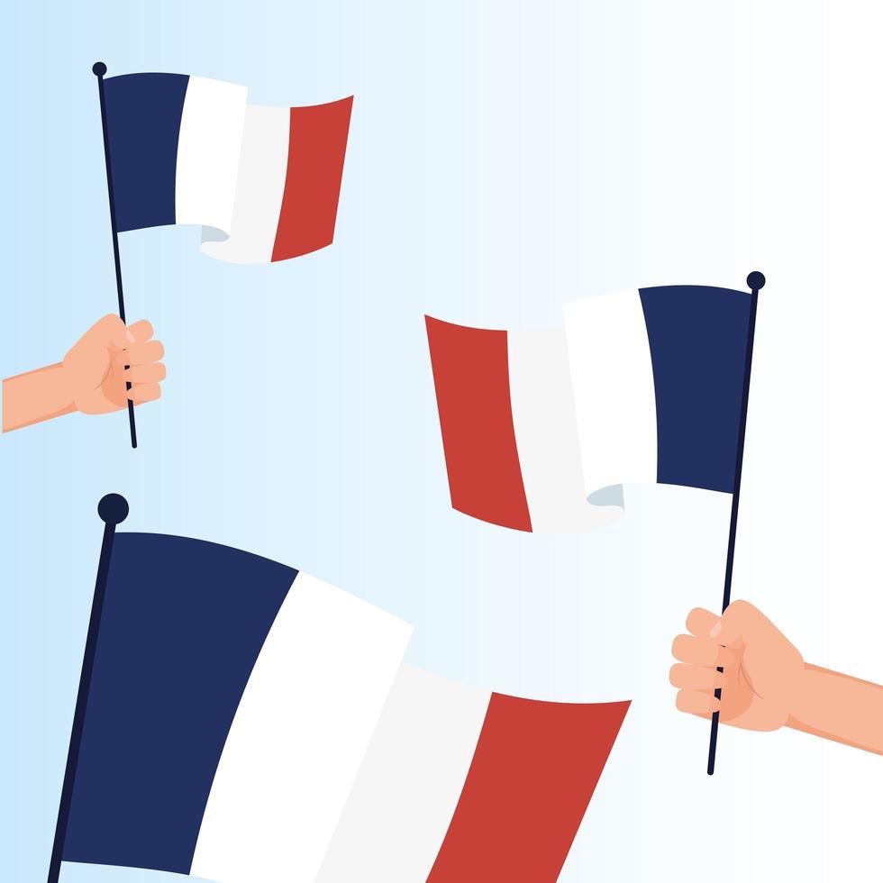 Hands holding france flags for happy bastille day vector design