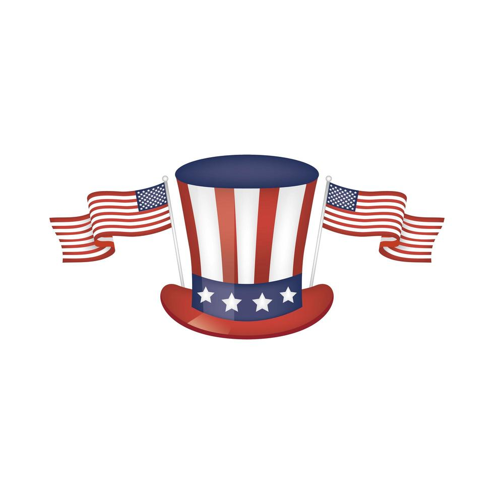 Usa flags and hat vector design