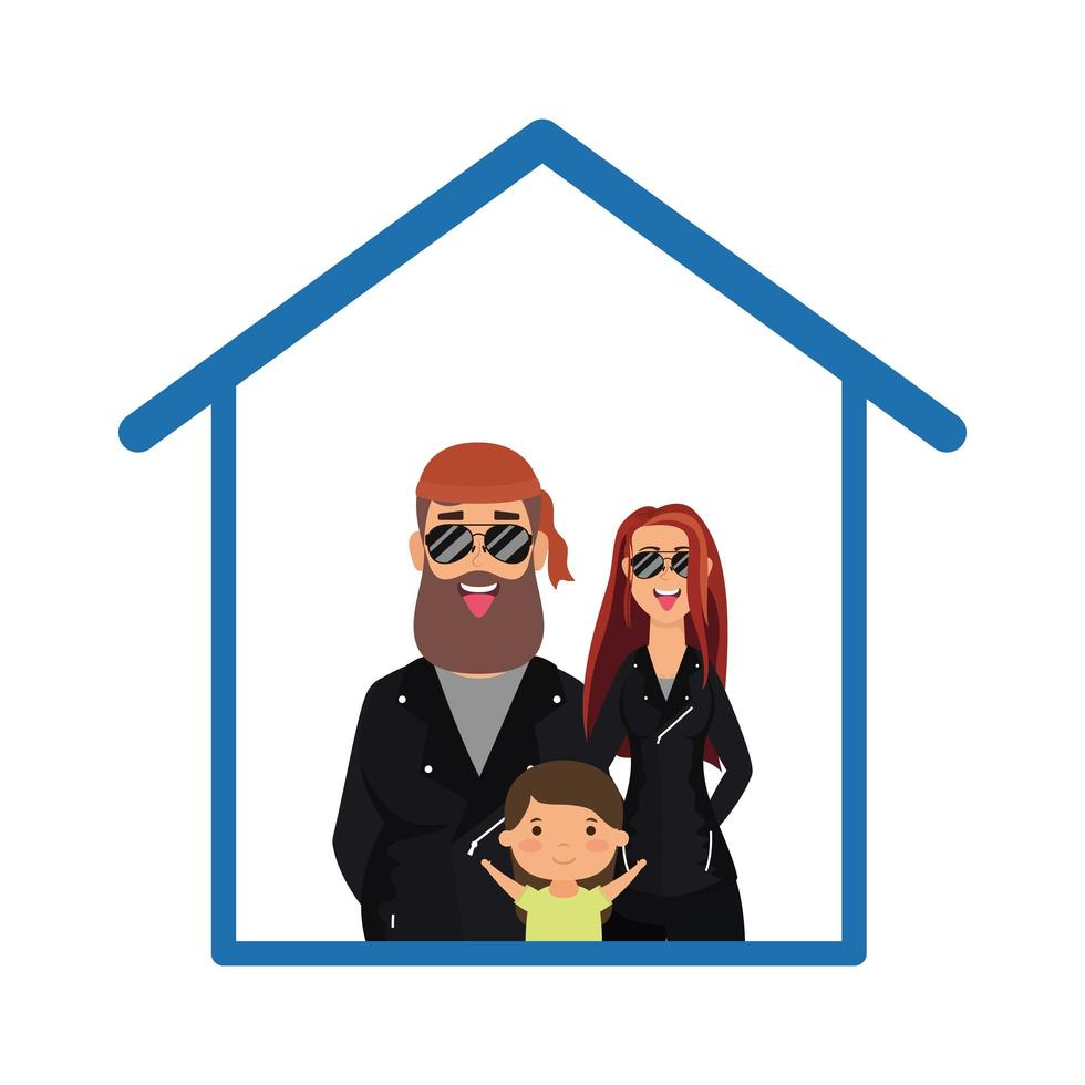 padre, madre e hijo, dentro, casa, vector, diseño vector