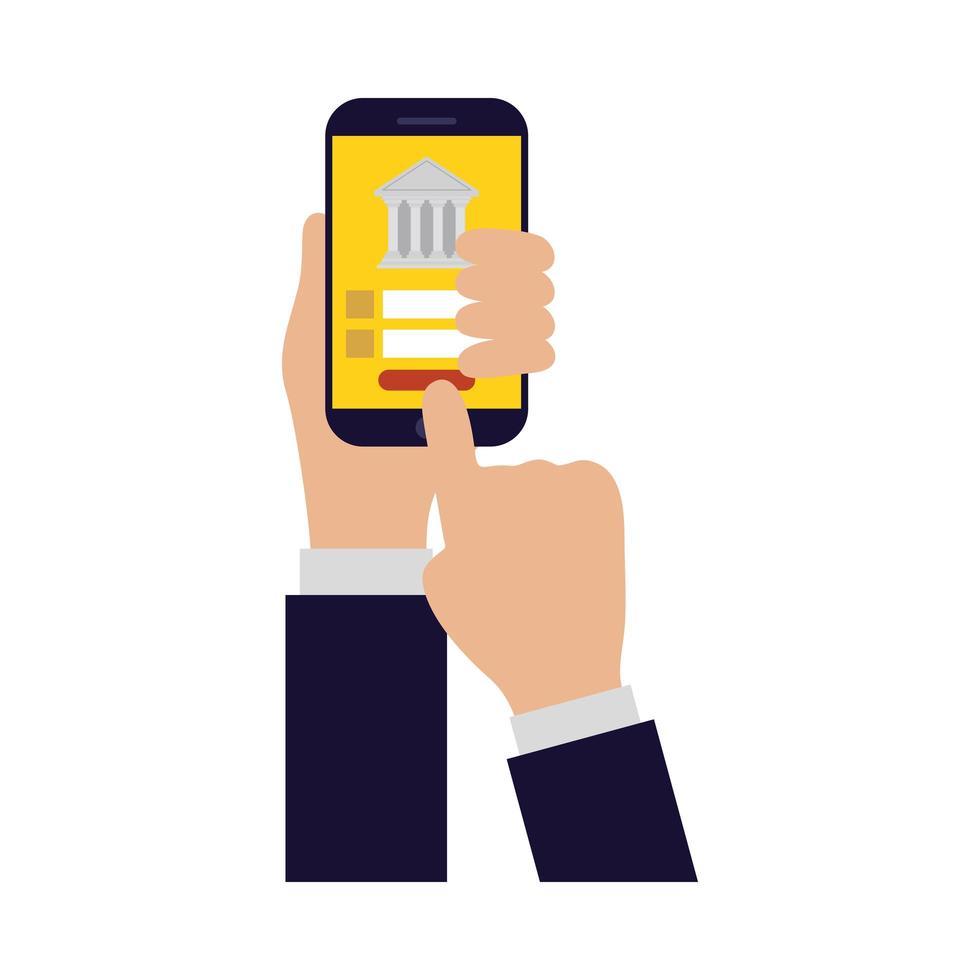 manos sosteniendo teléfono inteligente para hacer banca diseño vectorial vector