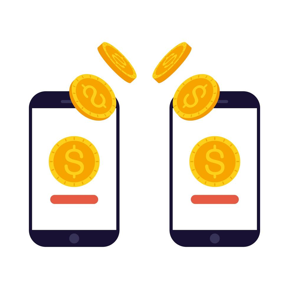 Isolated smartphone with dollar coins vector design