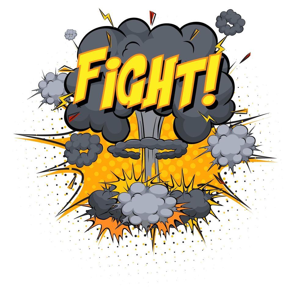 Texto de lucha en explosión de nube cómica aislado sobre fondo blanco. vector