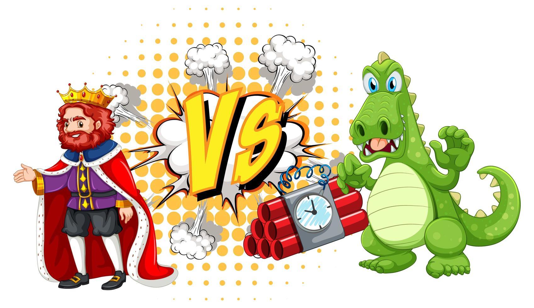 Dragón y rey peleando entre sí sobre fondo blanco. vector