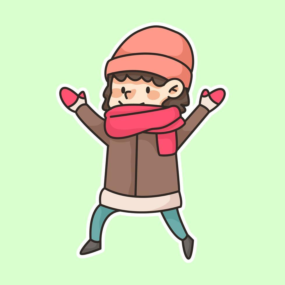 niña de invierno con bufanda linda ilustración de dibujos animados vector
