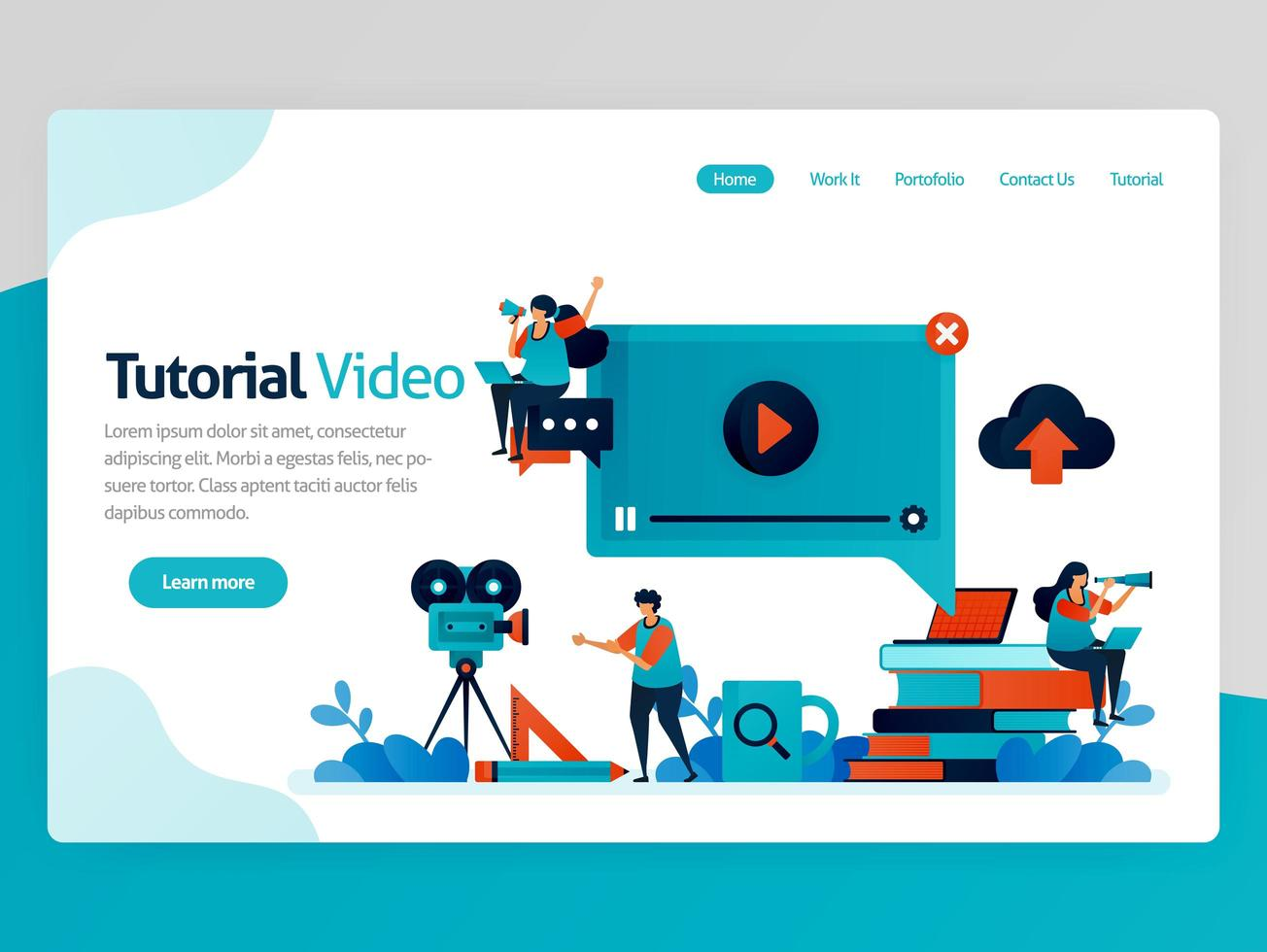 Vector illustration for video tutorial landing page. Learning platform, broadcast production for education. Modern learning. Tutoring chat and webinar lessons. Homepage header web page template apps