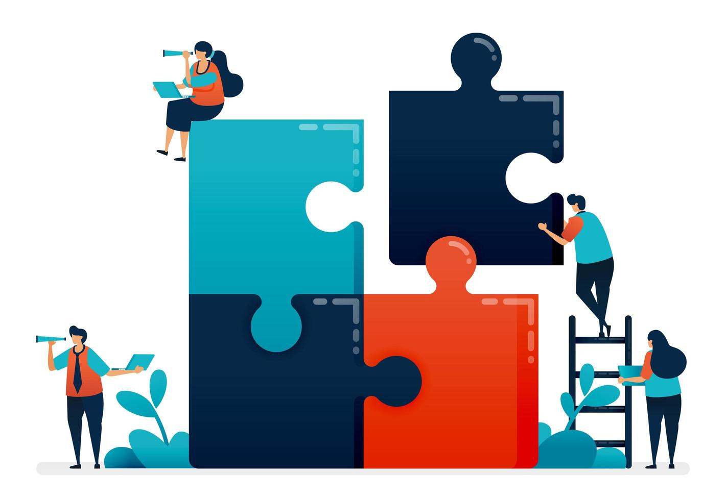 Practice collaboration and problem solving in teams by completing puzzle games, Solving problems in business and company, Cooperation and teamwork, Illustration of website, banner, software, poster vector