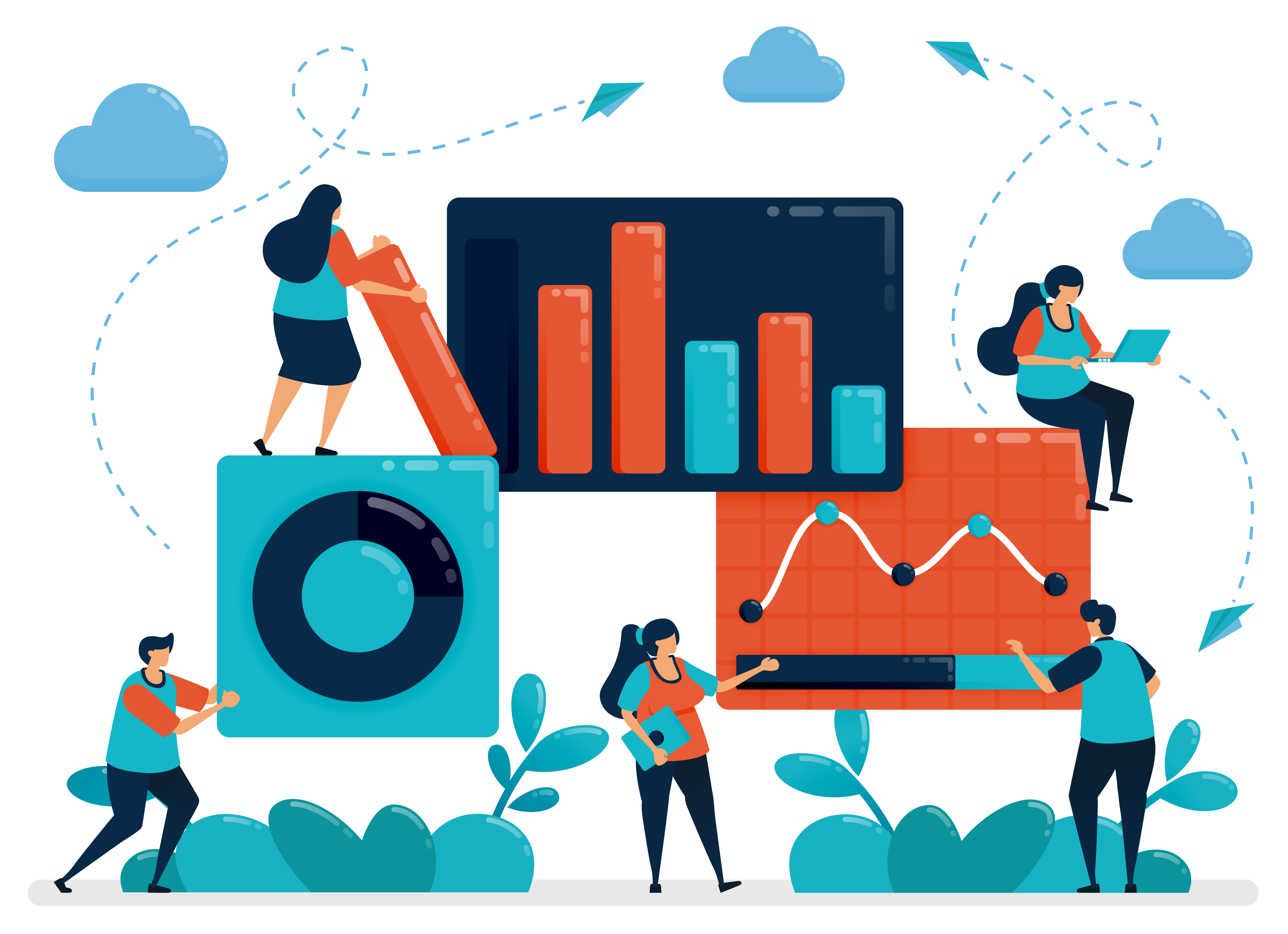 market statistical analysis. business chart data. work with statistics  data. economic and business growth. planning startup company. vector  illustration, graphic design, card, banner, brochure, flyer 1879496 vector  art at vecteezy  vecteezy