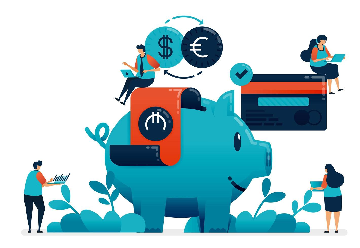 Plan investment for retirement, property, school, investment with banking services. Financial planning consultant, saving and donate with piggy bank, illustration of website, banner, software, poster vector