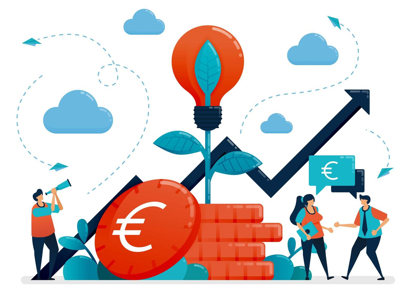 Ideas for investment. Bank interest and savings growth. Light bulb metaphor in euro coin plant. Mutual funds for banking investment. Vector illustration, graphic design, card, banner, brochure, flyer