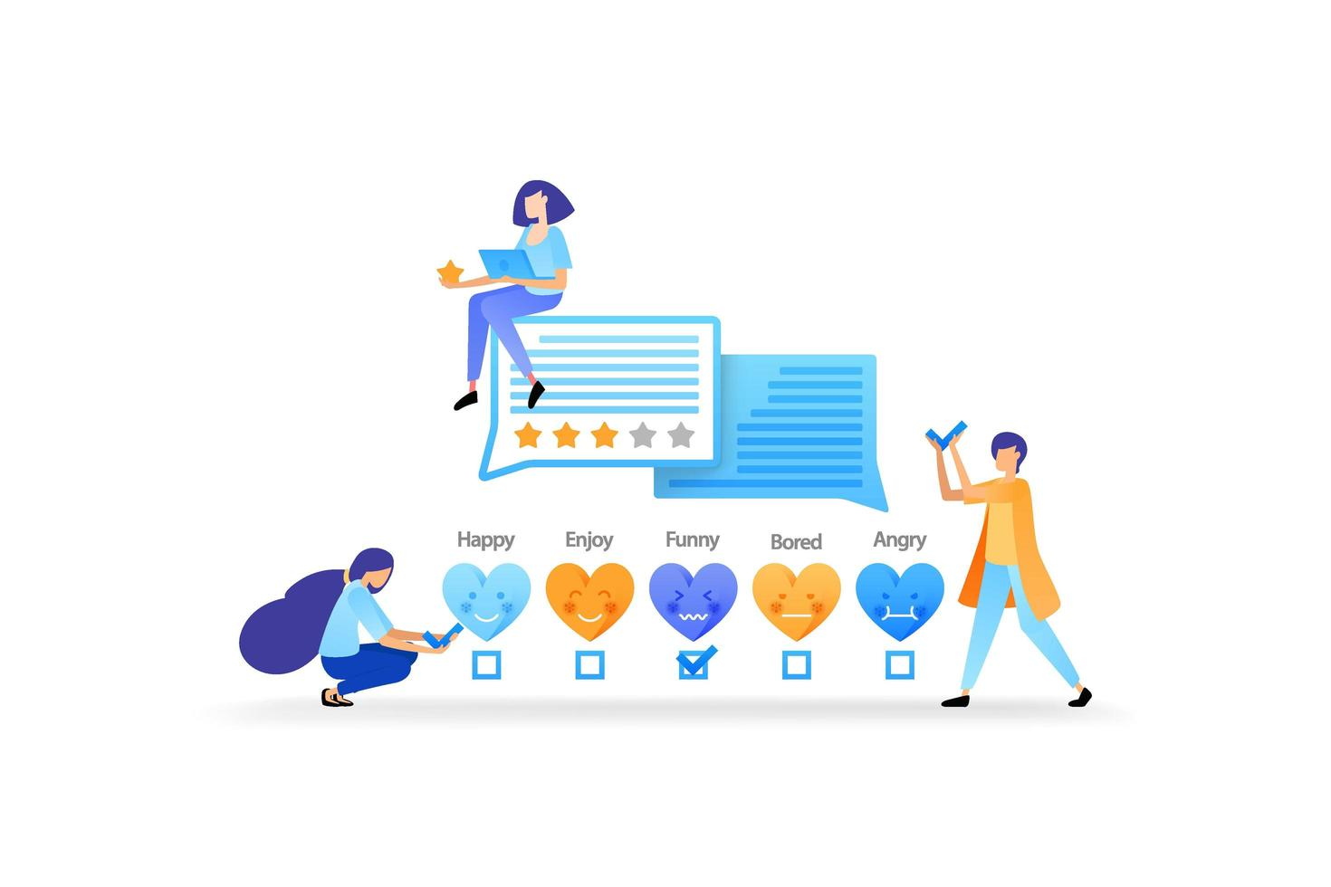give likes, ratings, emoticons and feedback. include testimonials to get better service and damage. vector illustration concept for landing page, web, ui, banner, flyer, poster, template, background