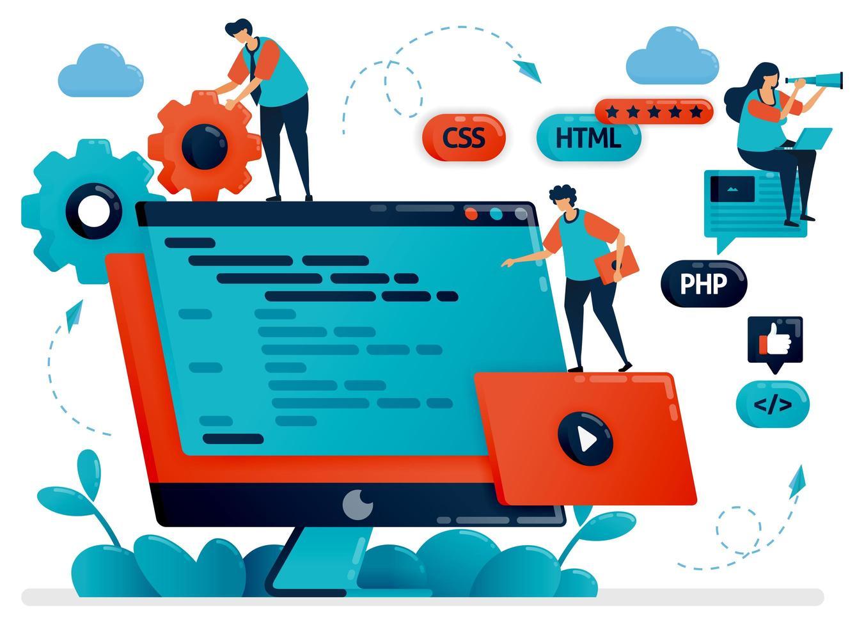 Designing program, web, apps on monitor screen or desktop. Teamwork in developing programming. Debugging development process. Vector illustration for website homepage header landing web page template