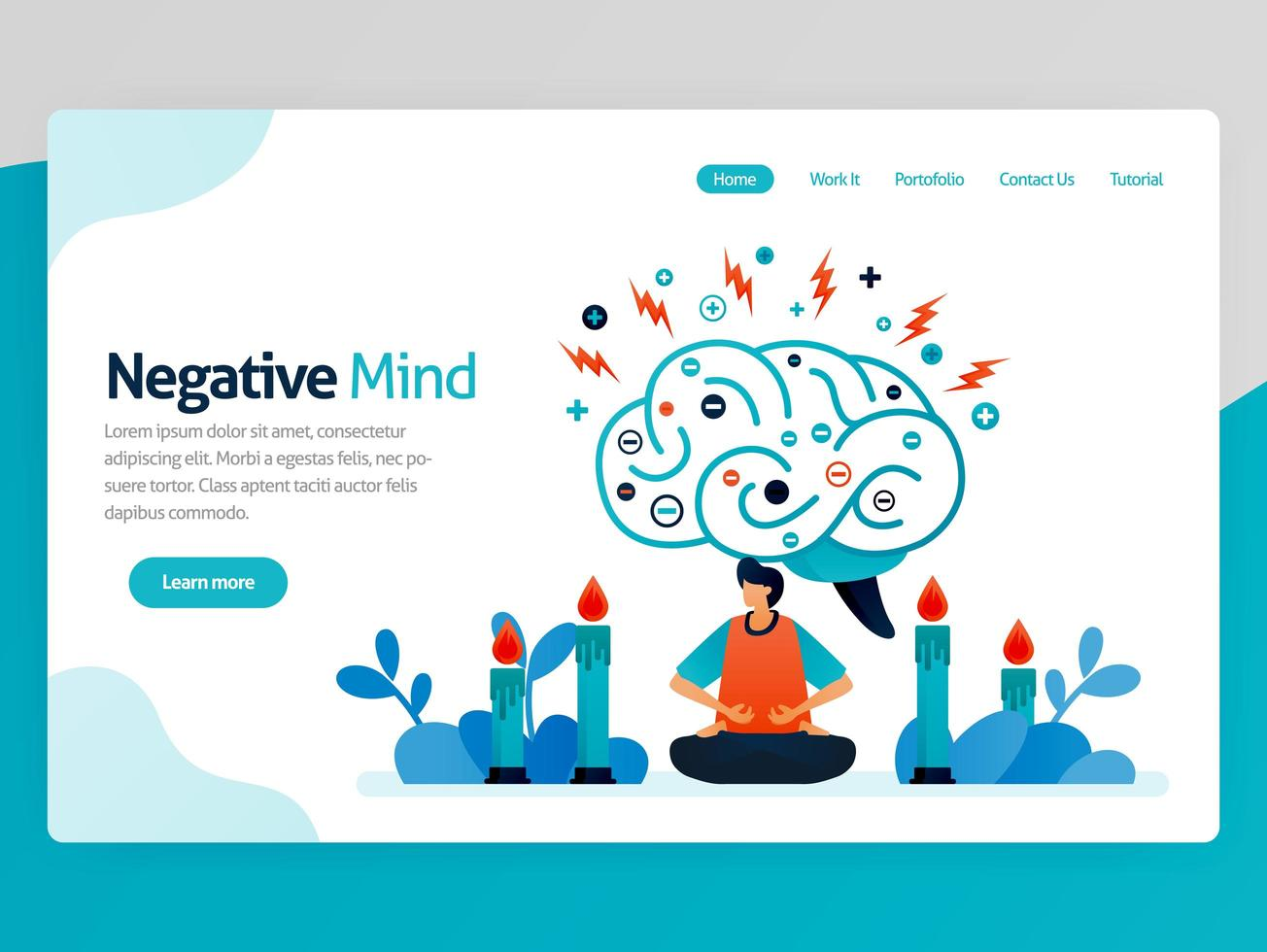 Illustration of negative mind. Meditation for healthy, healing, spiritual, relaxation, anti depression, ease mind, treatment. Vector cartoon for website homepage header landing web page template apps