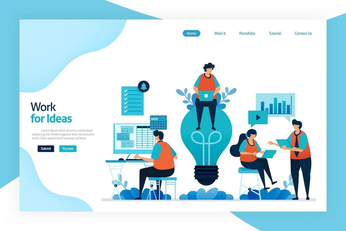 Landing page of work for idea. Employee work and discuss to improve company performance, services, financial gain. Big idea for problem solving and managing risk. Designed for website, mobile apps vector