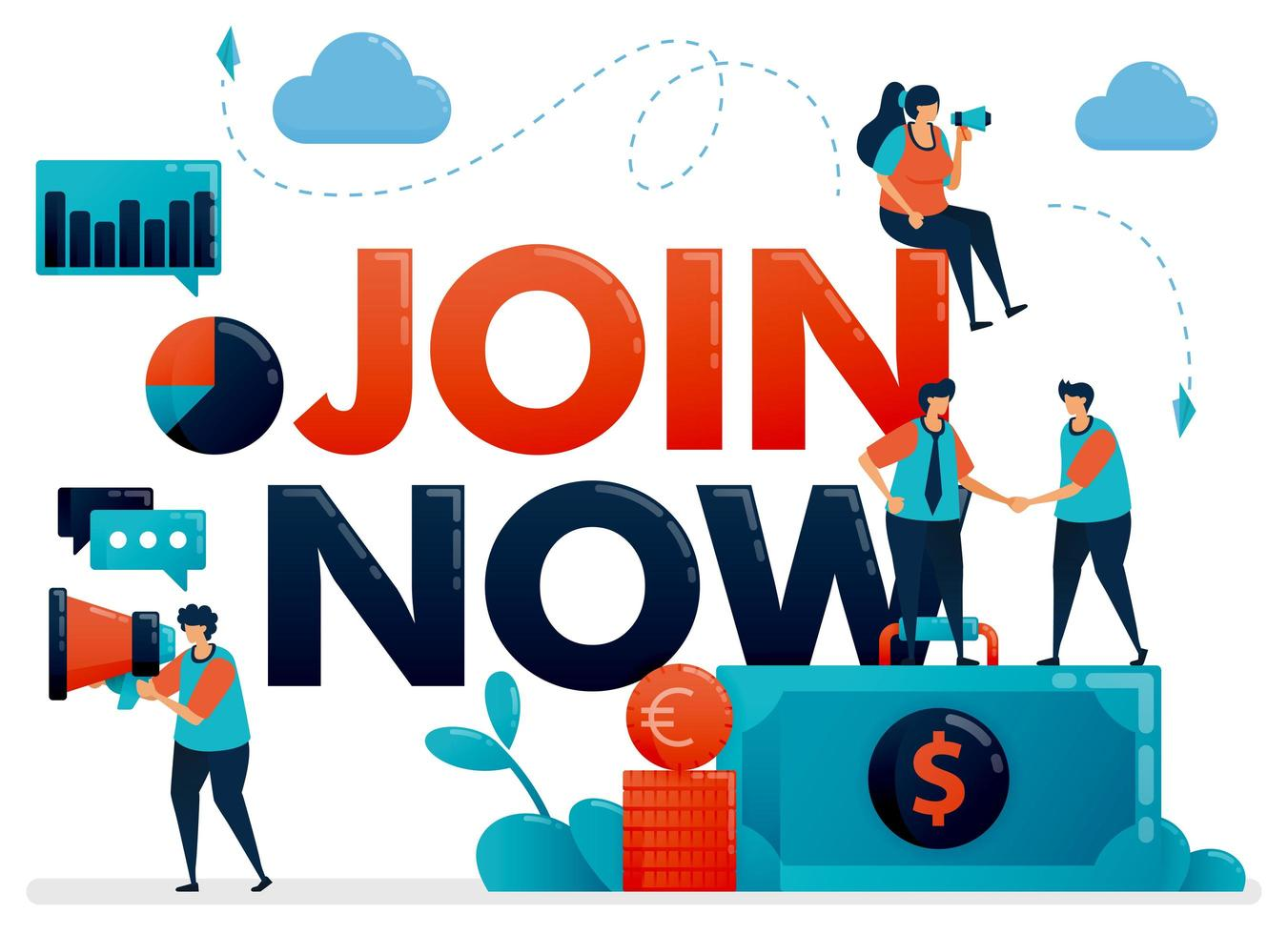 Join now poster for referral program. Promotion of we are hiring . Announcement for employee vacancy, recruitment. Flat character vector illustration for landing page, web, banner, mobile apps, poster