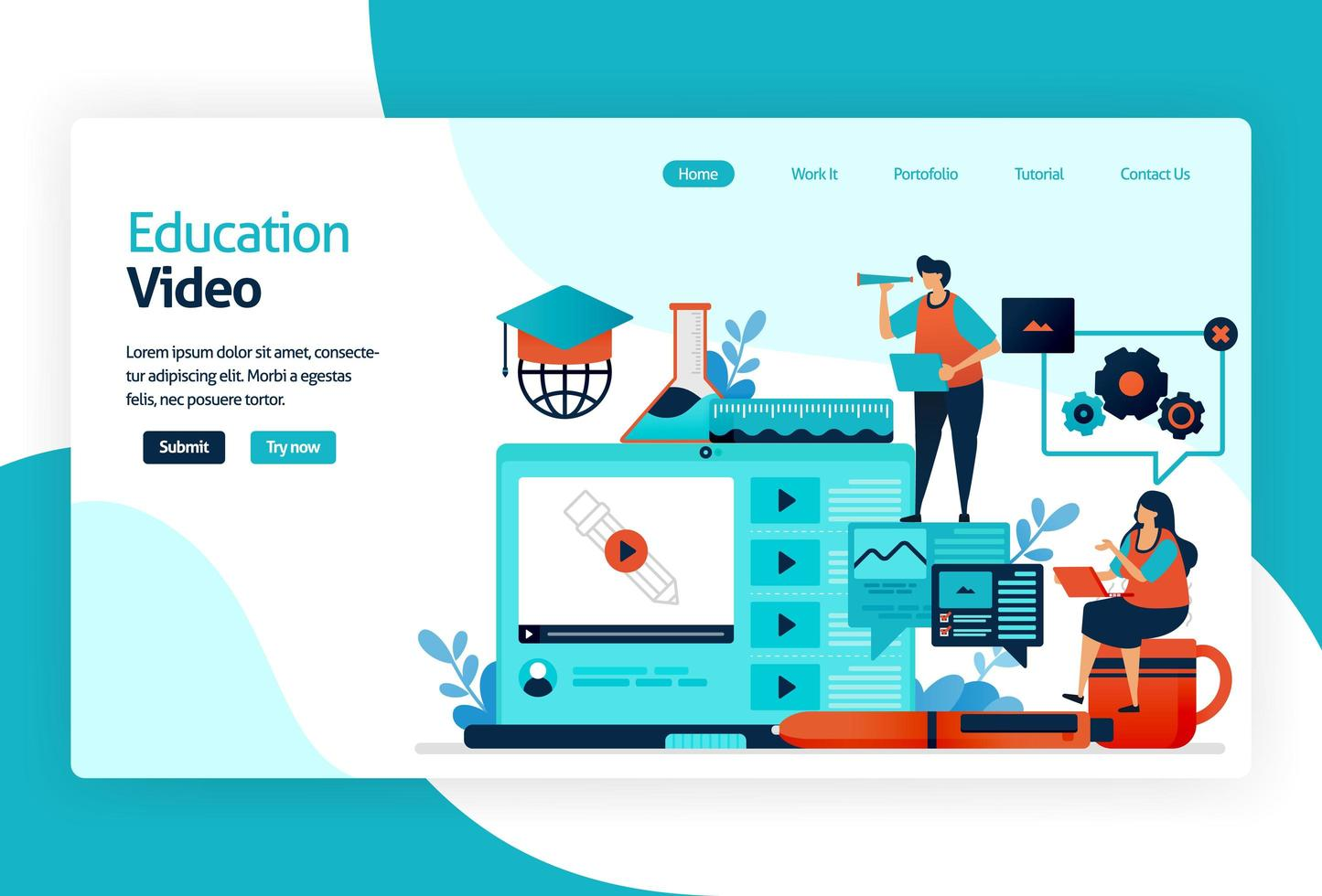 Illustration of landing page for Learning apps. Education process of learning knowledge, skills, values, beliefs, and habits. Digital technology in teaching, training, storytelling, discussion. vector