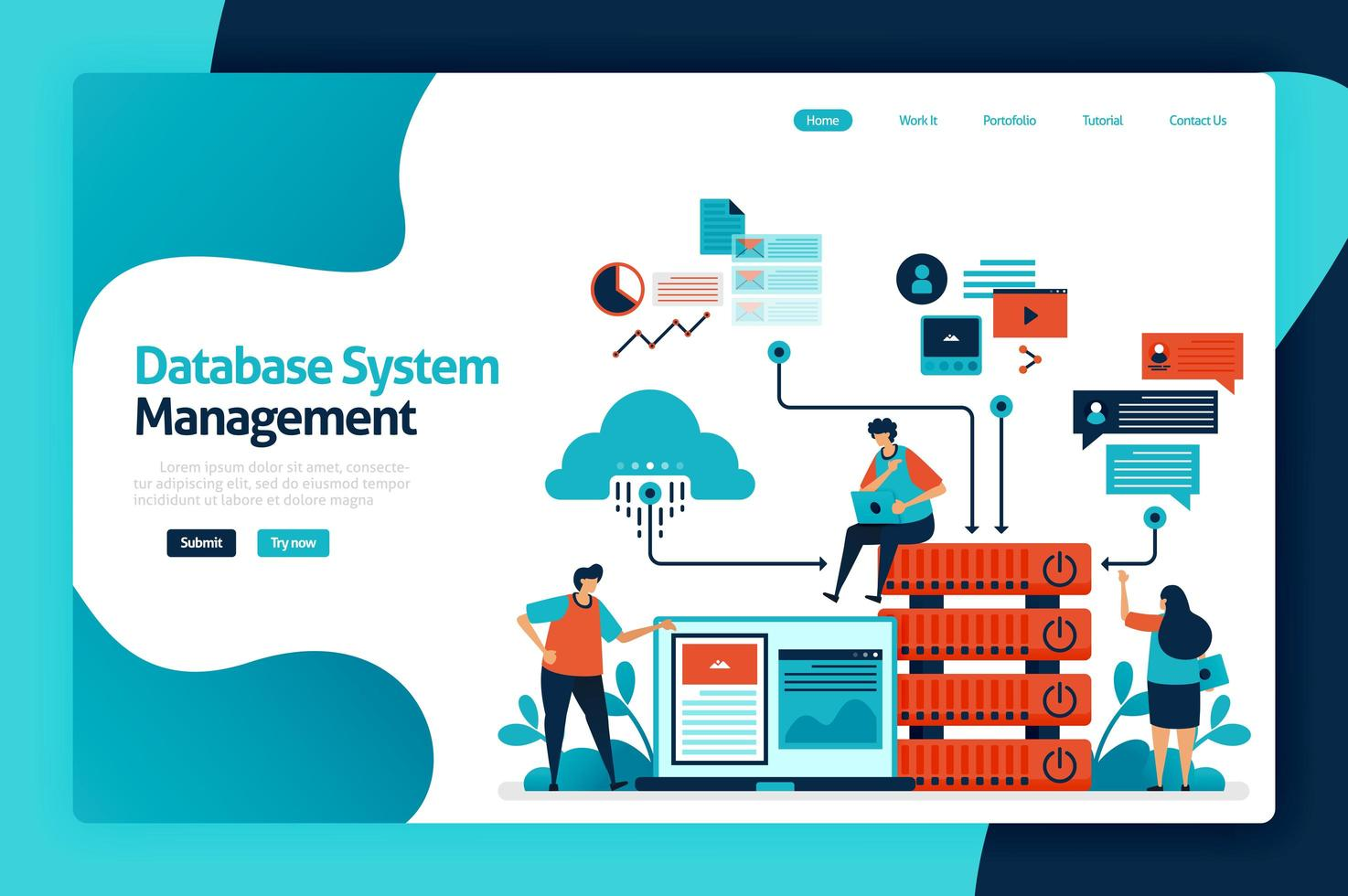 Database system management landing page design. manage, control and manage data access to databases, cloud storage network, chart and graph. vector illustration for poster, website, flyer, mobile app