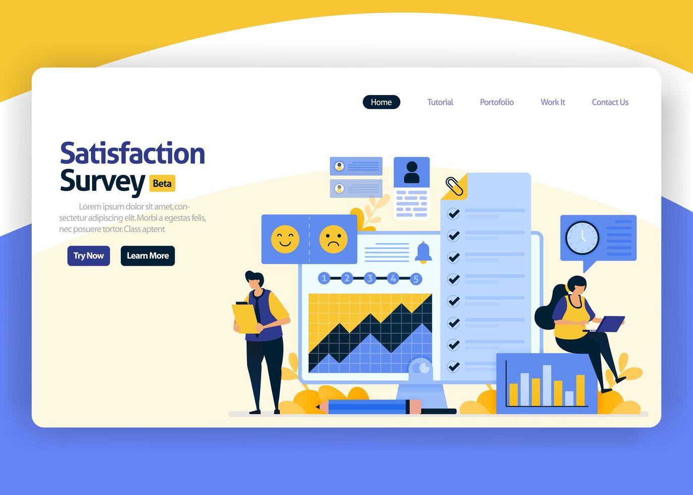 Ilustración de diseño plano de vector de página de destino de encuestas de satisfacción con emoticonos para la mejora del servicio empresarial, mediante el análisis del hábito del usuario. para sitios web, aplicaciones móviles, banner, flyer, folleto