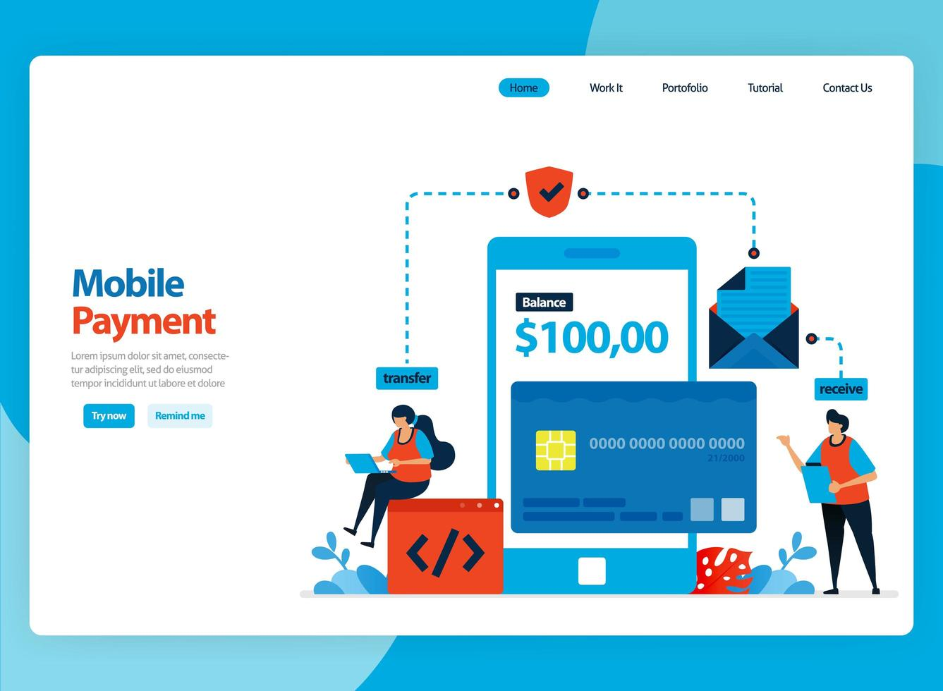 Landing page vector design for mobile payment system and cashless protection technology. Flat cartoon illustration for landing page, template, ui ux, web, website, mobile app, banner, flyer, brochure