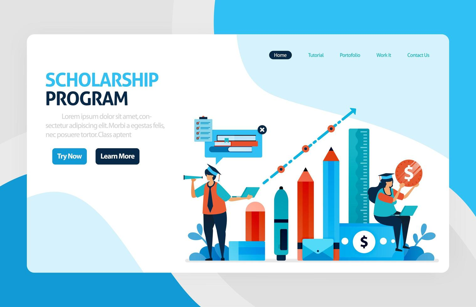 vector illustration of scholarship education program, learning abroad. financial funds and study loans for education. academic achievements, school cost. for banner, web, website, mobile apps, flyer