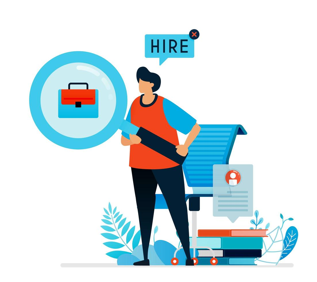 Vector illustration of looking for workers. We're hiring sign for job  seekers, Open vacancies for