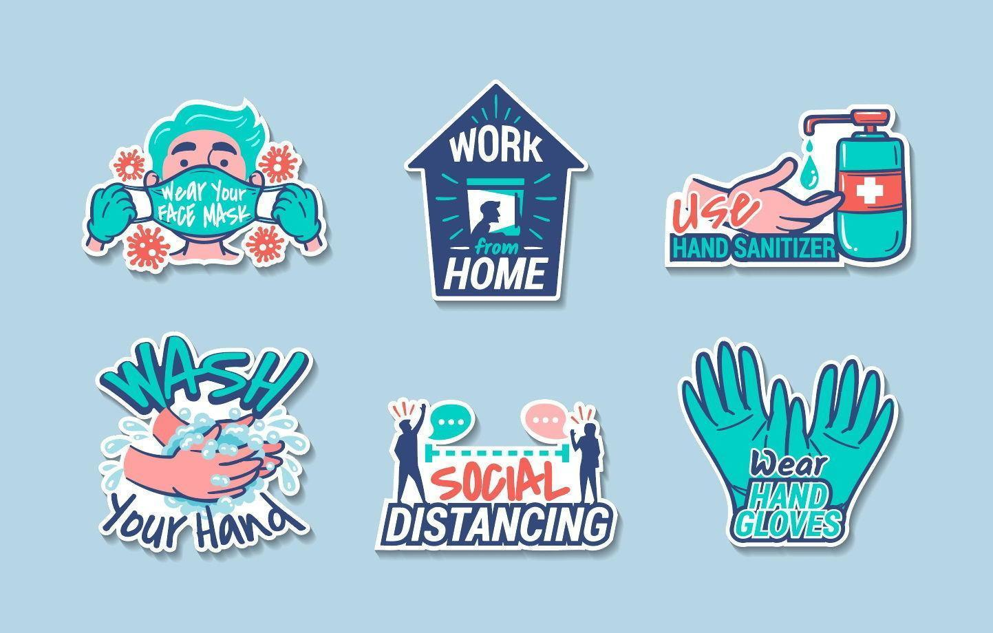 New Normal Protocol in Everyday Life Stickers vector