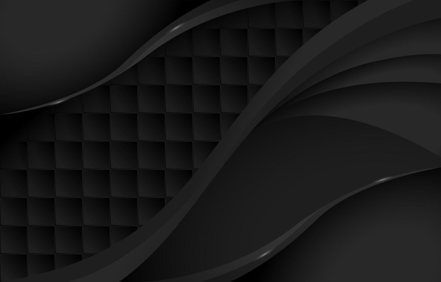 Gradient Black Waves and Square Tiles Pattern vector