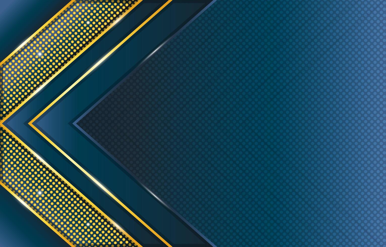 Gradient Blue Gold Triangle and Dots Pattern Composition vector