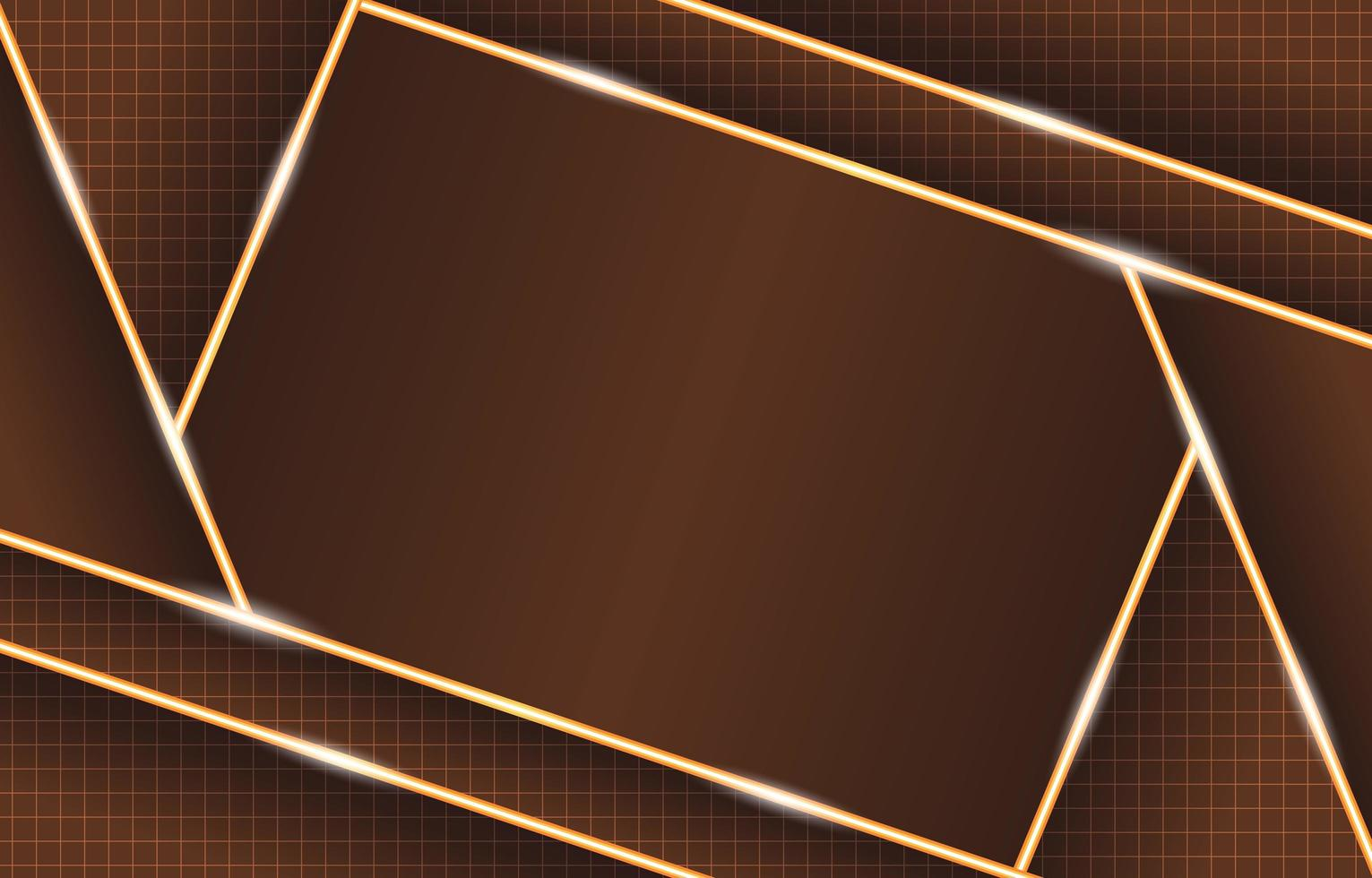 Glowing Geometric Brown Gold Neon Lights Composition vector