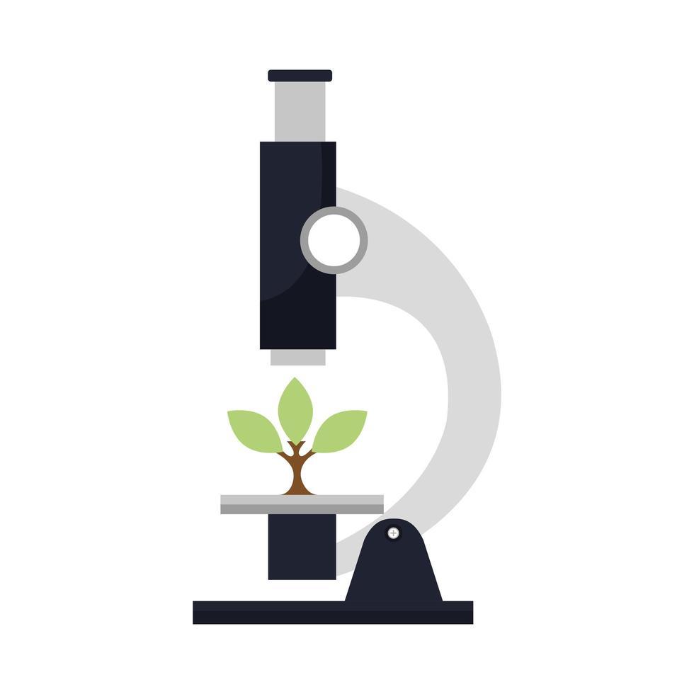 microscope laboratory with tree plant vector