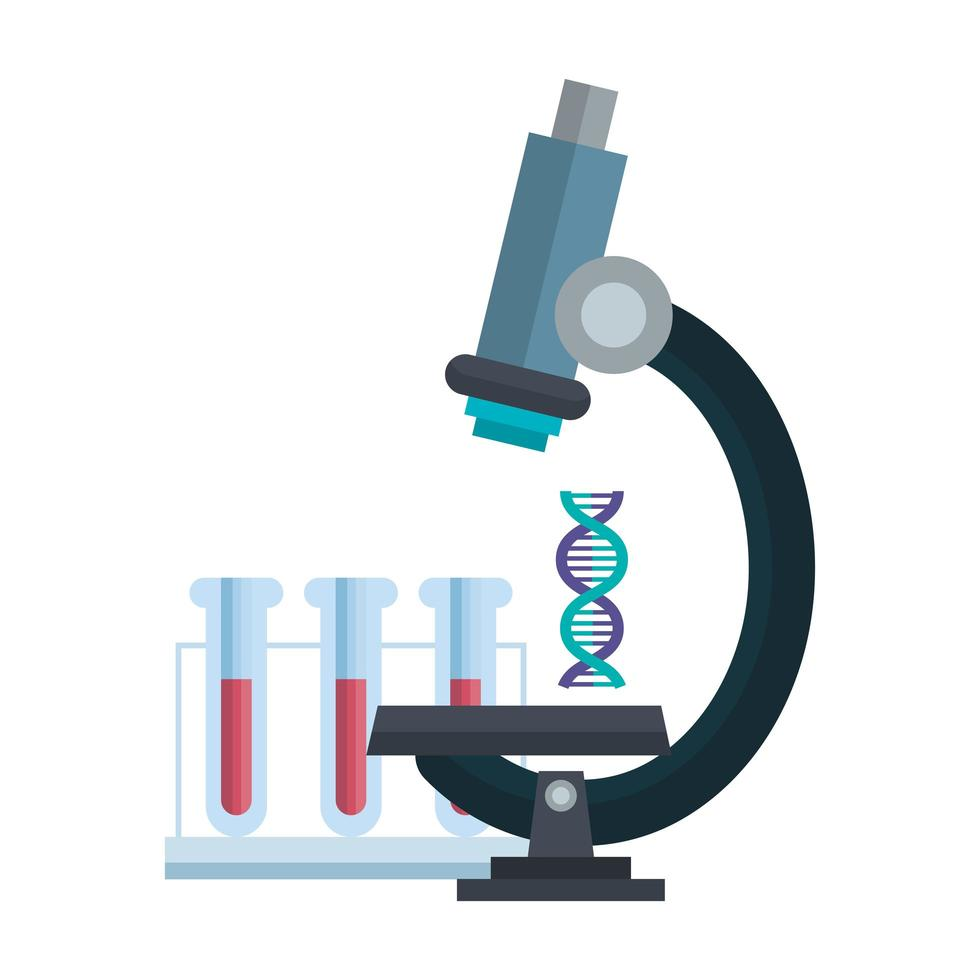 microscope laboratory with dna structure and tubes test vector