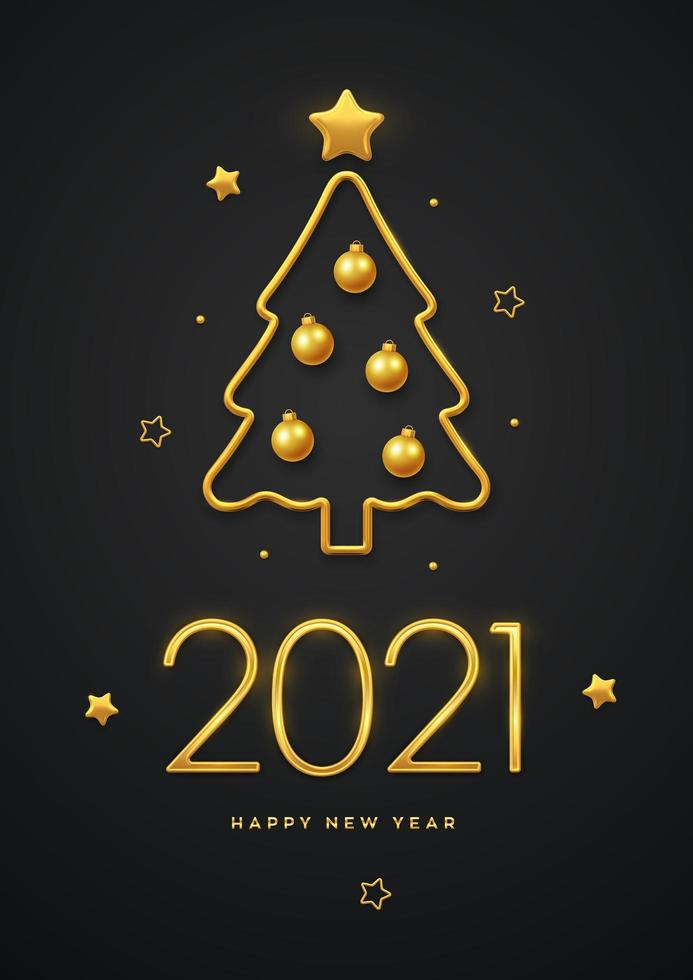 Happy New 2021 Year. Golden metallic luxury numbers 2021 with golden metallic Christmas tree, golden balls and stars. Greeting card, festive poster or holiday banner design. vector