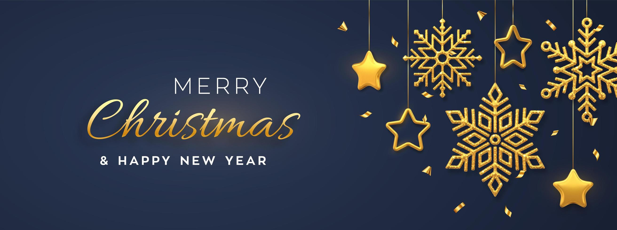 Christmas blue background with hanging shining golden snowflakes and 3D metallic stars. Merry christmas greeting card. Holiday Xmas and New Year poster, web banner. vector