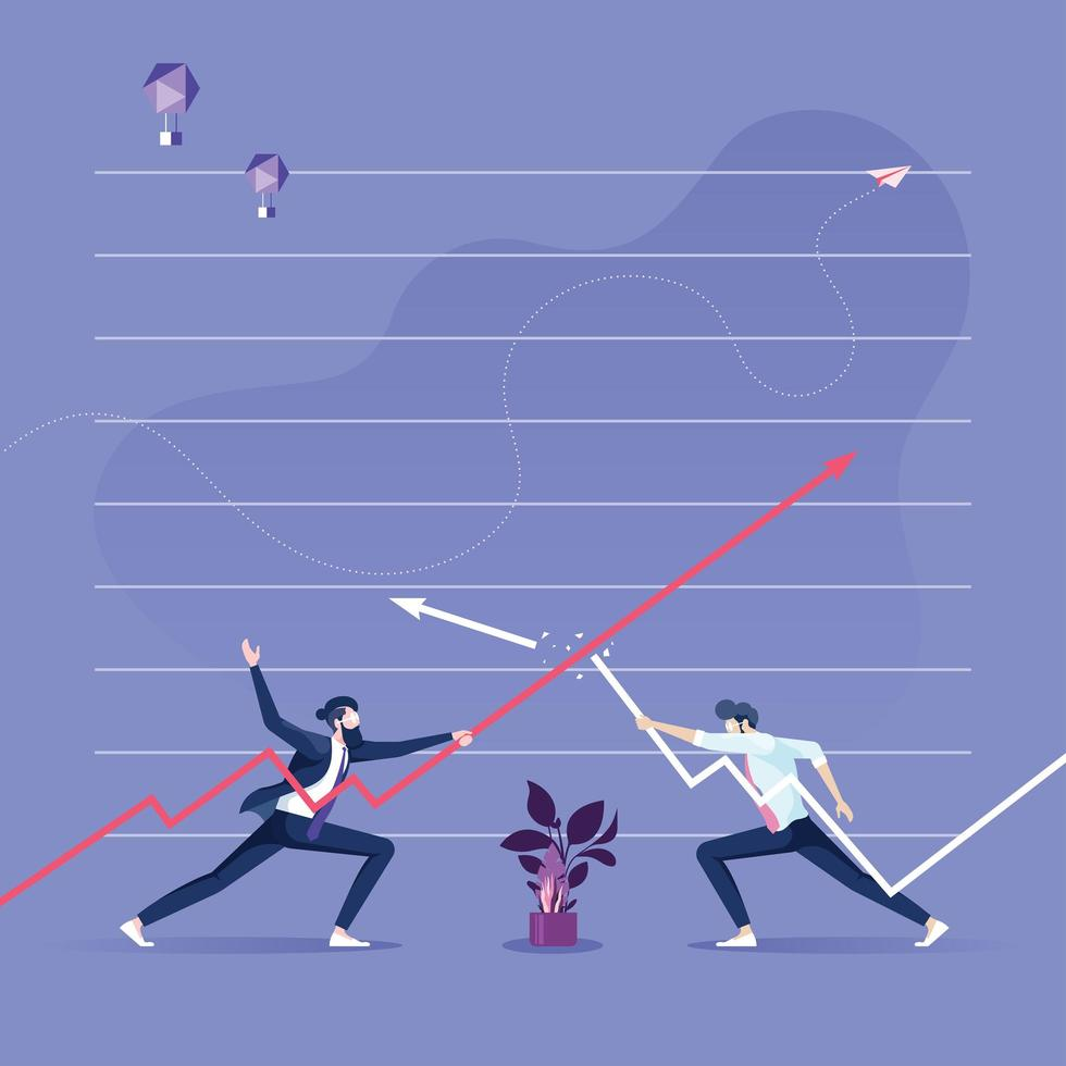 Two businessmen keep the arrows against each other-Business competition concept vector