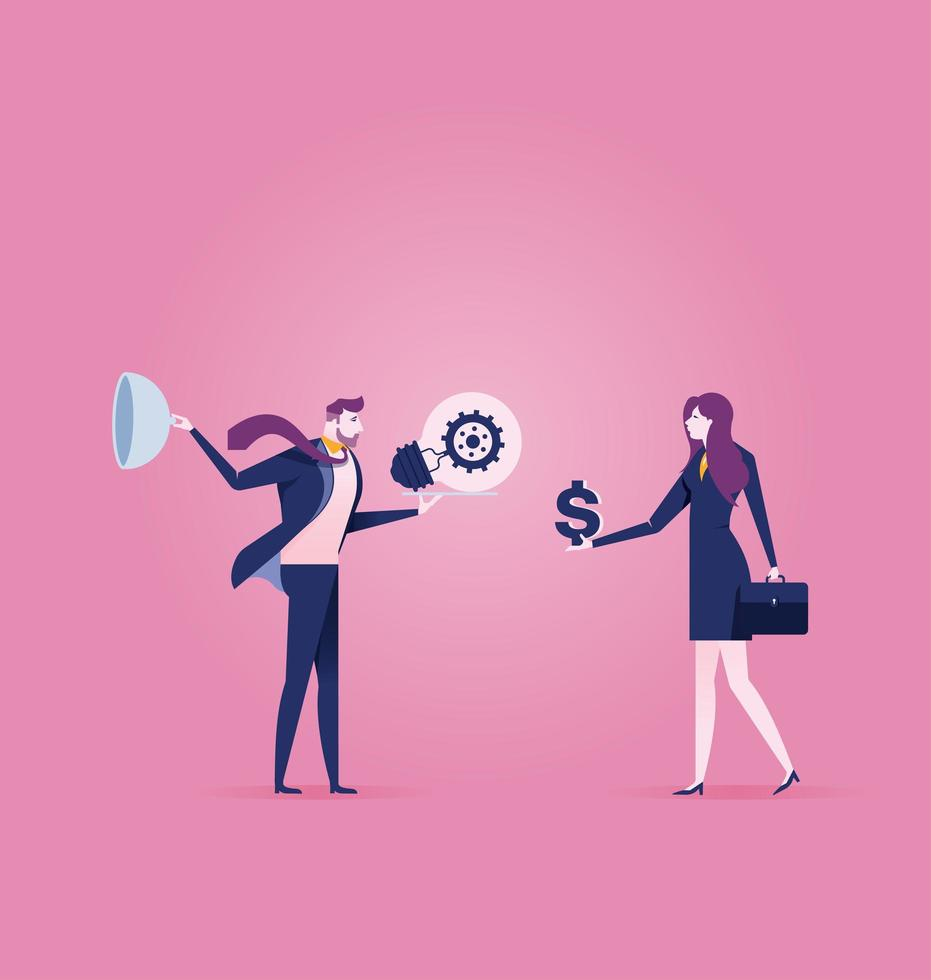 Businessman sells the idea for money to businesswoman - Business concept vector