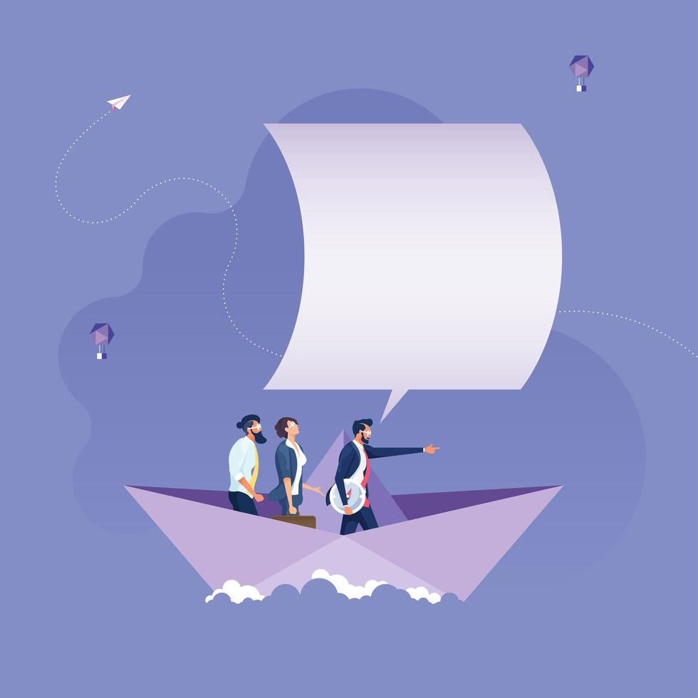 Leader pointing hand forward on paper boats-Business leadership concept vector